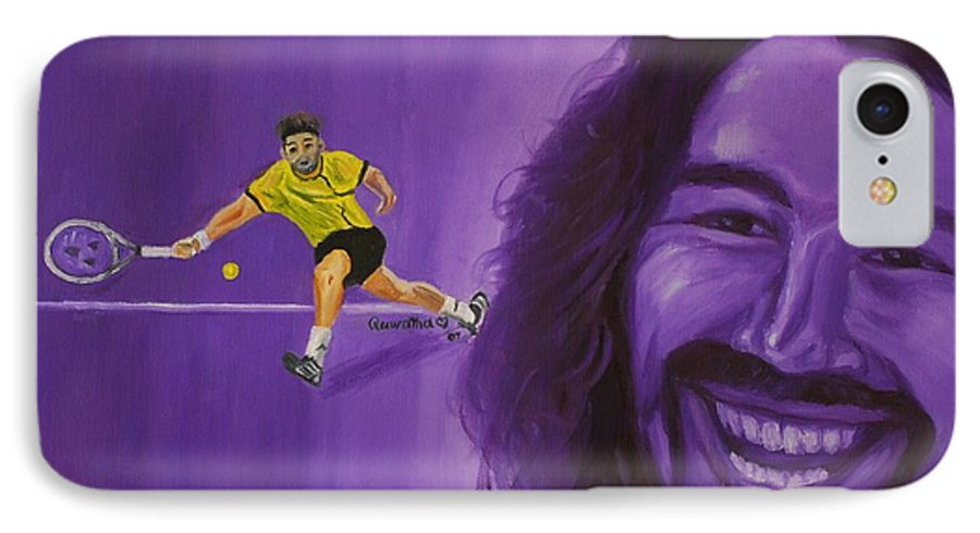 Marcos IPhone 7 Case featuring the painting Marcos Baghdatis by Quwatha Valentine