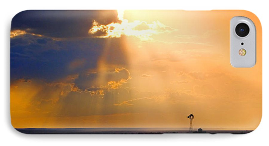 Skip Hunt IPhone 7 Case featuring the photograph Marfa Windmill 1 by Skip Hunt