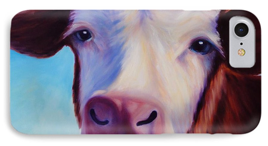 Cow IPhone 7 Case featuring the painting Marie by Shannon Grissom