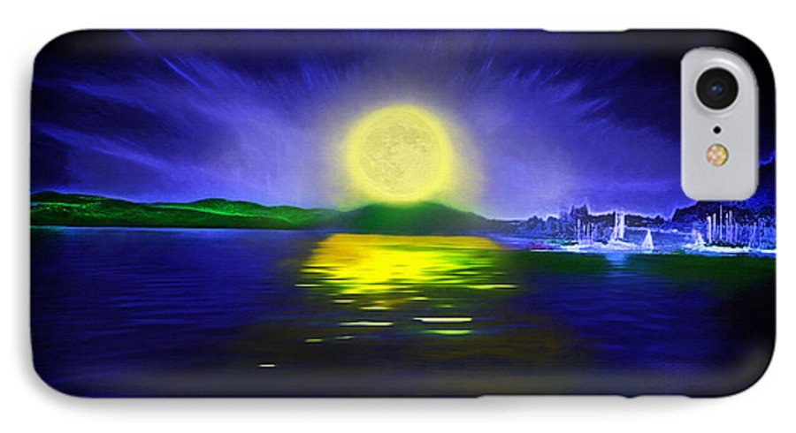 Couer D' Alene; Idaho; Lakes; Water; Night; Nighttime; Moonlight; Moonlit; Full Moon IPhone 7 Case featuring the photograph Marina Moonrise by Steve Ohlsen