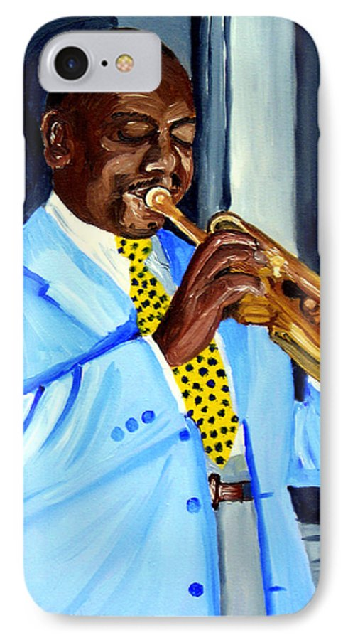 Street Musician IPhone 7 Case featuring the painting Master Of Jazz by Michael Lee