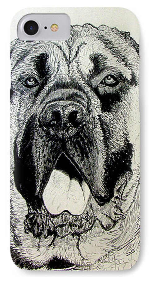 Mastiff IPhone 7 Case featuring the drawing Mastiff by Stan Hamilton