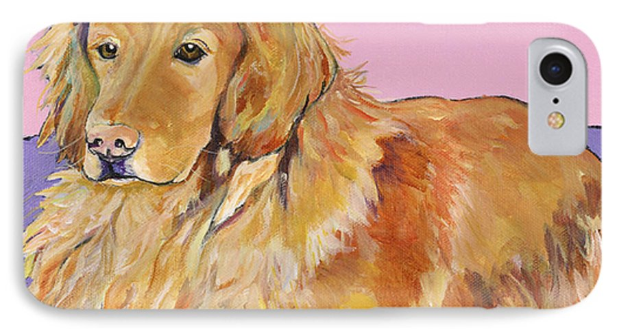 Golden Retriever IPhone 7 Case featuring the painting Maya by Pat Saunders-White