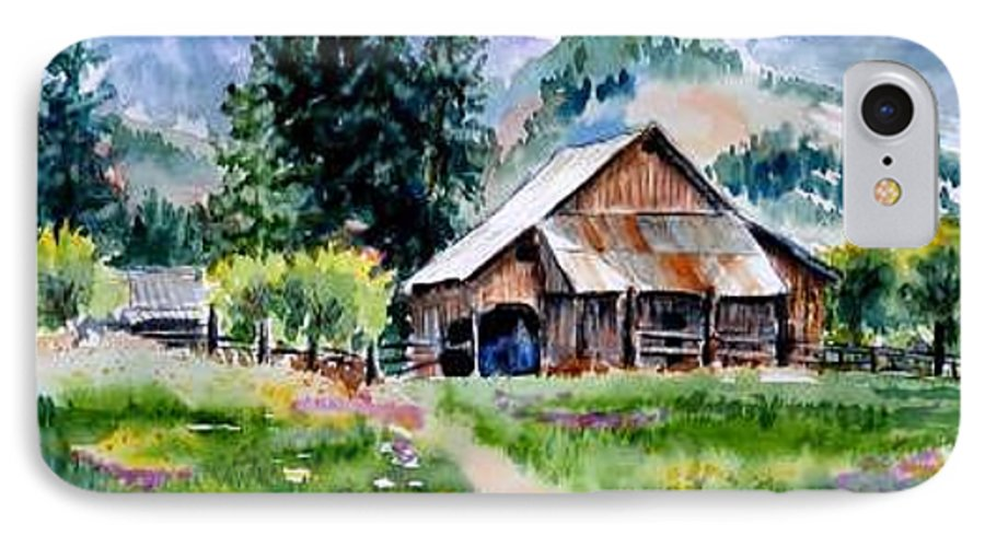Barn IPhone 7 Case featuring the painting Mcghee Farm by Lynee Sapere