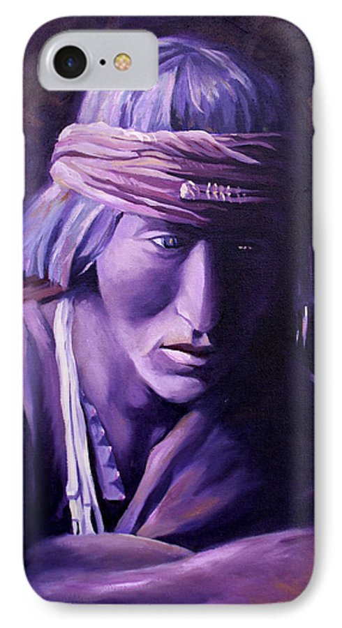 Native American IPhone 7 Case featuring the painting Medicine Man by Nancy Griswold