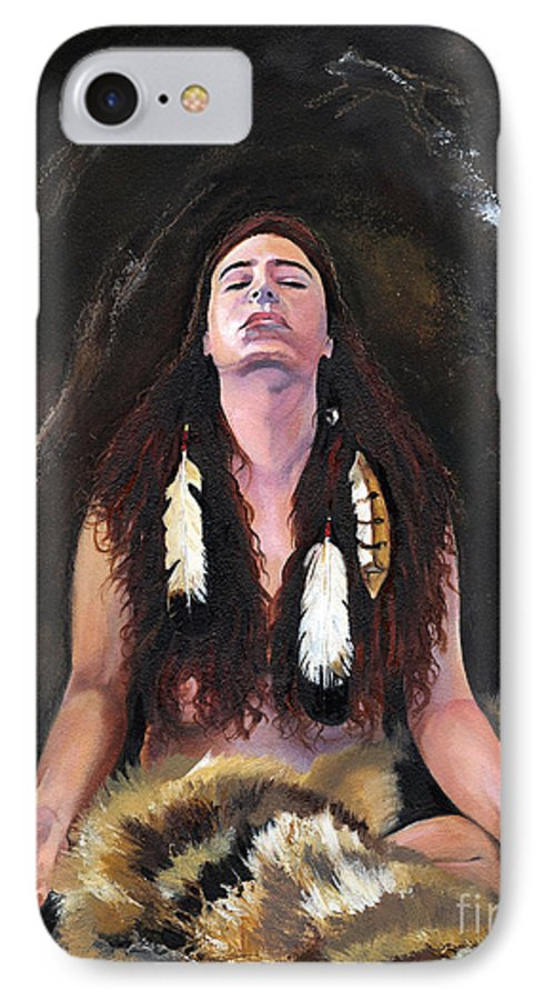 Southwest Art IPhone 7 Case featuring the painting Medicine Woman by J W Baker