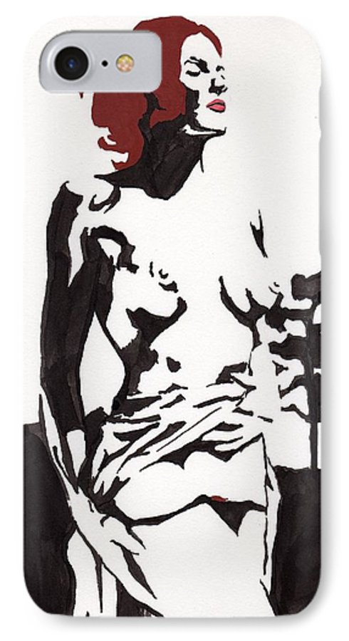 IPhone 7 Case featuring the drawing Megan - Sunlight by Stephen Panoushek
