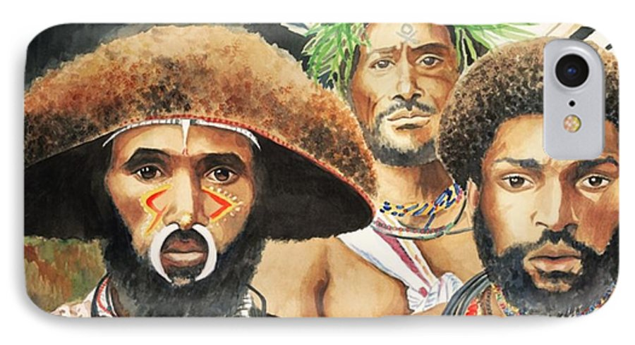 Men From New Guinea IPhone 7 Case featuring the painting Men From New Guinea by Judy Swerlick