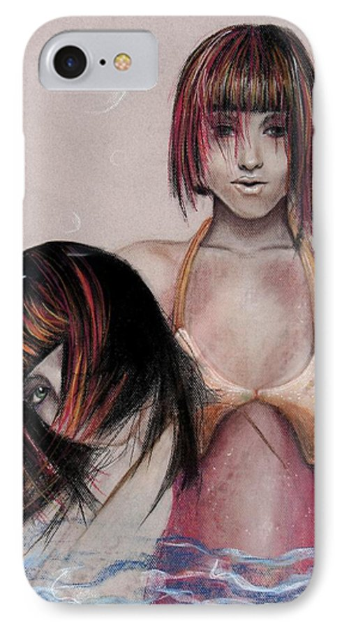 Mermaid IPhone 7 Case featuring the drawing Mermaid Emerging by Maryn Crawford