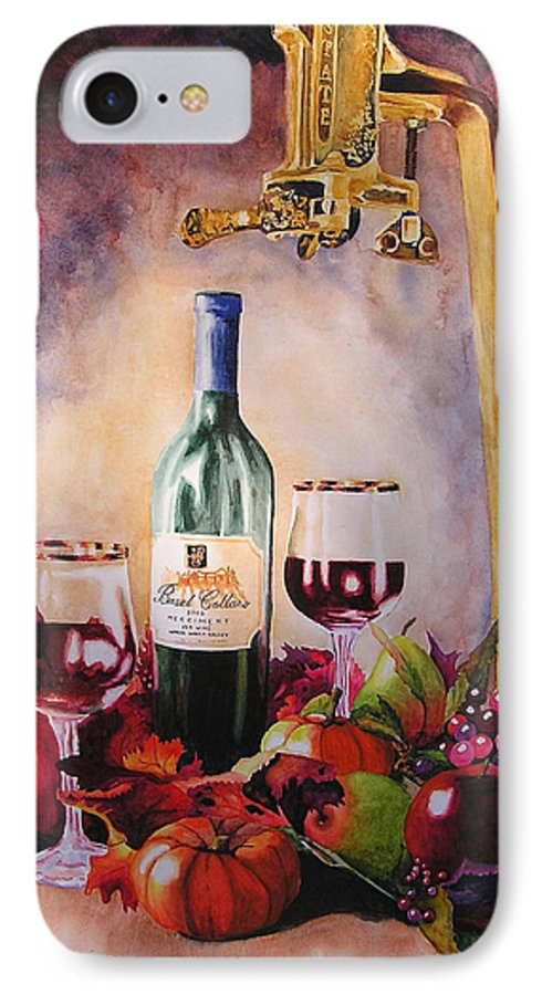 Wine IPhone 7 Case featuring the painting Merriment by Karen Stark