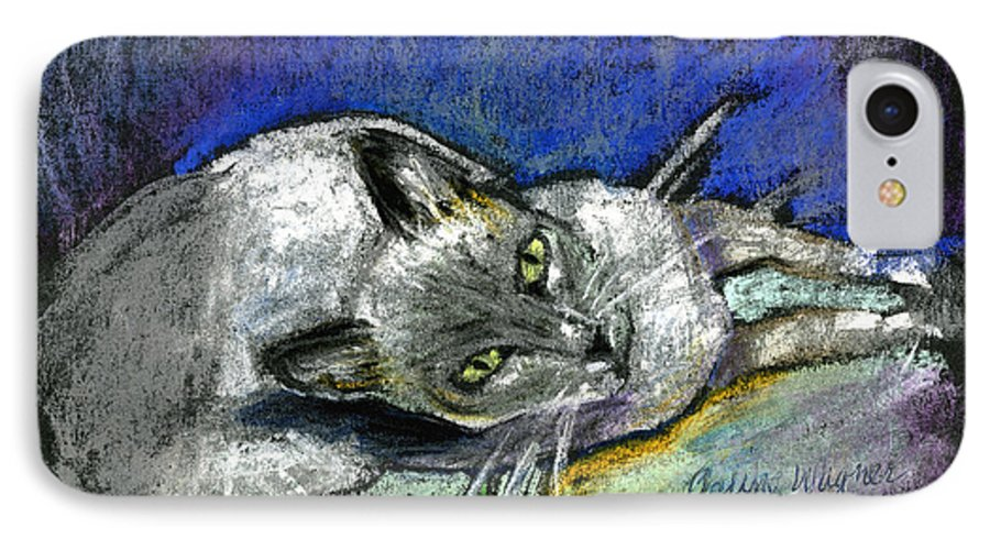 Cat IPhone 7 Case featuring the pastel Michael Campbell by Arline Wagner