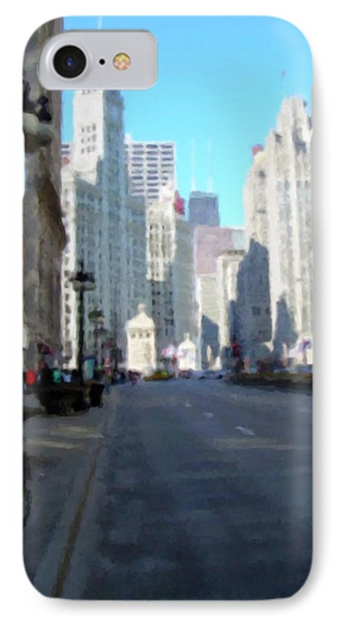 Chicago IPhone 7 Case featuring the digital art Michigan Ave Tall by Anita Burgermeister