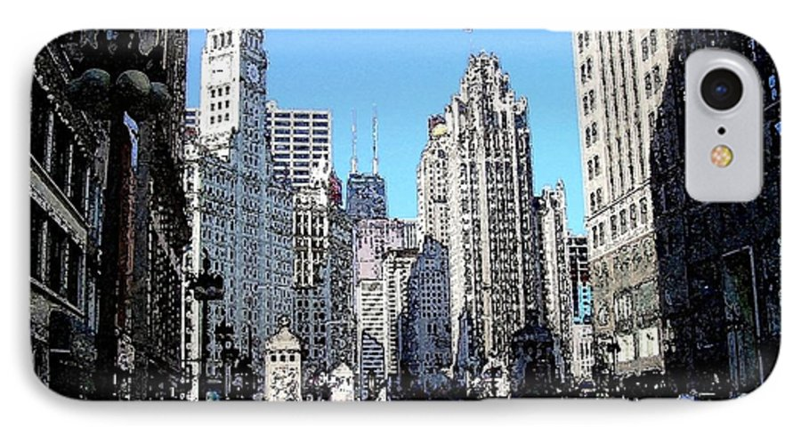 Chicago IPhone 7 Case featuring the digital art Michigan Ave Wide by Anita Burgermeister