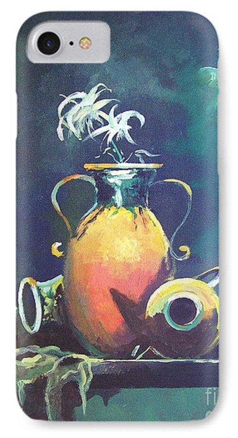 Still Life IPhone 7 Case featuring the painting Midnight Moon by Sinisa Saratlic