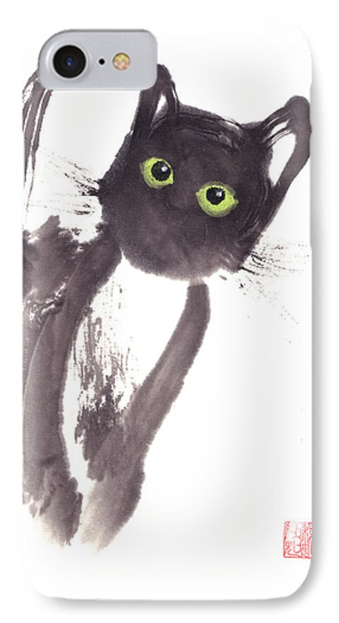 A Curious Black Kitten. This Is A Contemporary Chinese Ink And Color On Rice Paper Painting With Simple Zen Style Brush Strokes.  IPhone 7 Case featuring the painting Midnight by Mui-Joo Wee