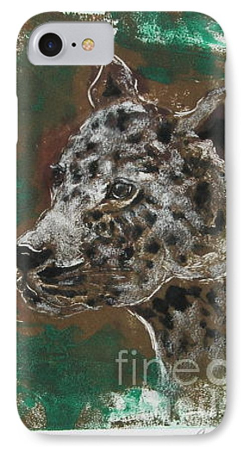 Monotype IPhone 7 Case featuring the mixed media Midnight Prowler by Cori Solomon