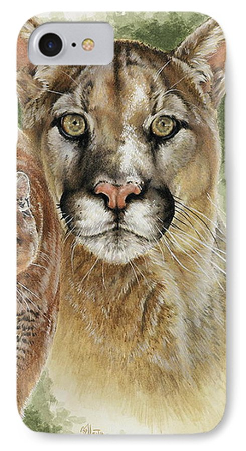 Cougar IPhone 7 Case featuring the mixed media Mighty by Barbara Keith