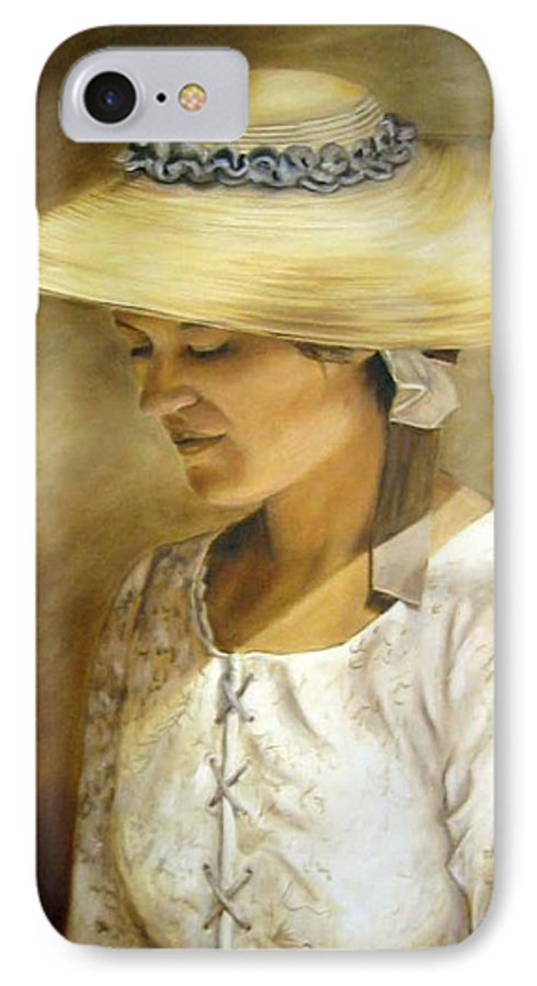 Portrait IPhone 7 Case featuring the painting Milliners Daughter by Anne Kushnick