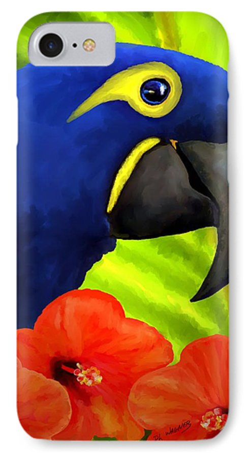 Hyacinth Macaw IPhone 7 Case featuring the painting Mimi by David Wagner