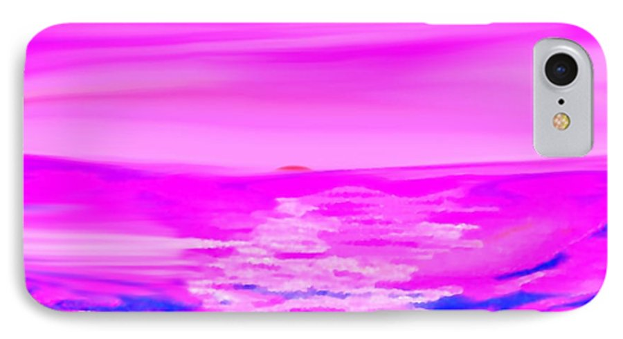 Sunset IPhone 7 Case featuring the digital art Miracle Sunset-sun And Sky In One Dance by Dr Loifer Vladimir