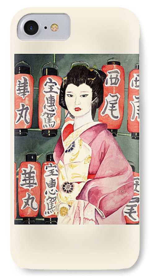 Geisha In Kimono With Red Lanterns IPhone 7 Case featuring the painting Miss Hanamaru At Osaka Festival by Judy Swerlick