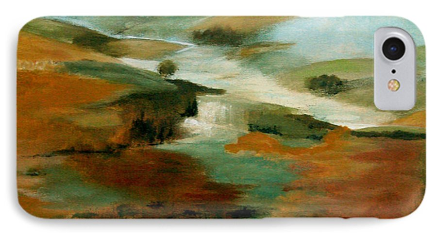 Abstract IPhone 7 Case featuring the painting Misty Hills by Ruth Palmer