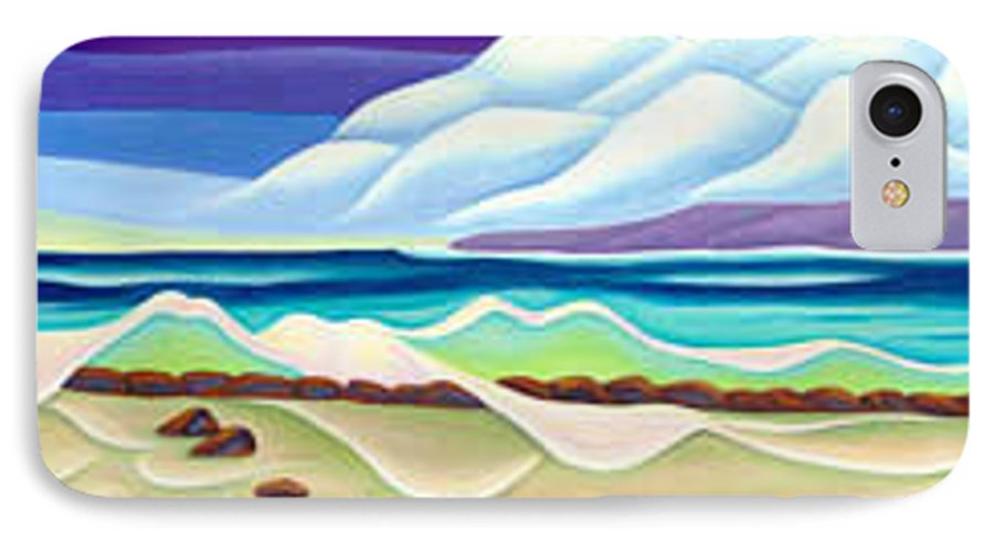 Landscape IPhone 7 Case featuring the painting Moana Kai Surf by Lynn Soehner