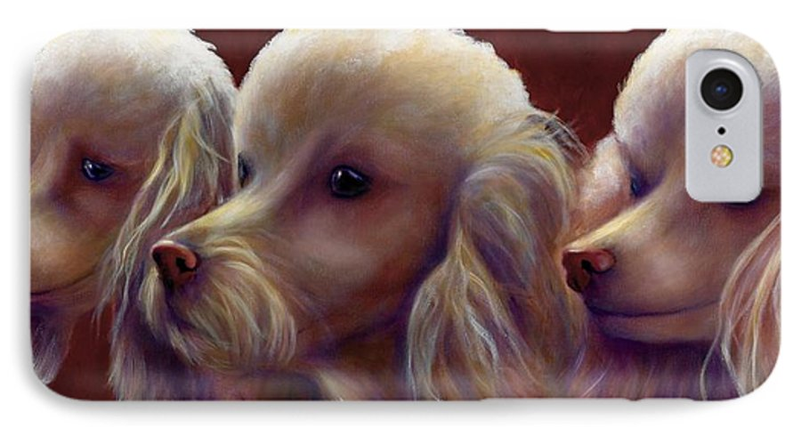 Dogs IPhone 7 Case featuring the painting Molly Charlie And Abby by Shannon Grissom