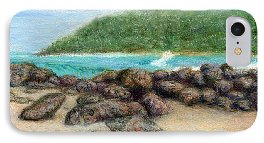 Coastal Decor IPhone 7 Case featuring the painting Moloa'a Rocks by Kenneth Grzesik