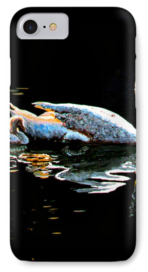 Swan IPhone 7 Case featuring the painting Mom And Baby Swan by Stan Hamilton
