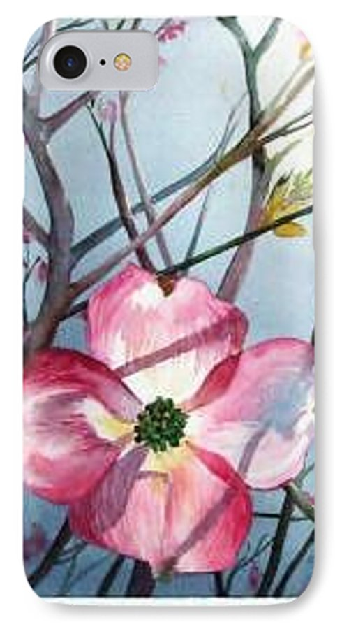 Dogwood IPhone 7 Case featuring the painting Mom's Dogwood by Linda Marie Carroll