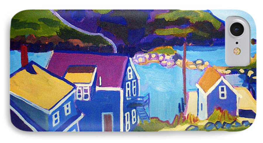 Seascape IPhone 7 Case featuring the painting Monhegan Harbor by Debra Bretton Robinson