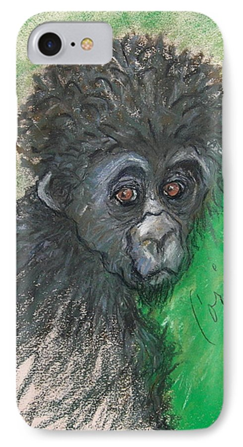 Monkey IPhone 7 Case featuring the drawing Monkey Business by Cori Solomon
