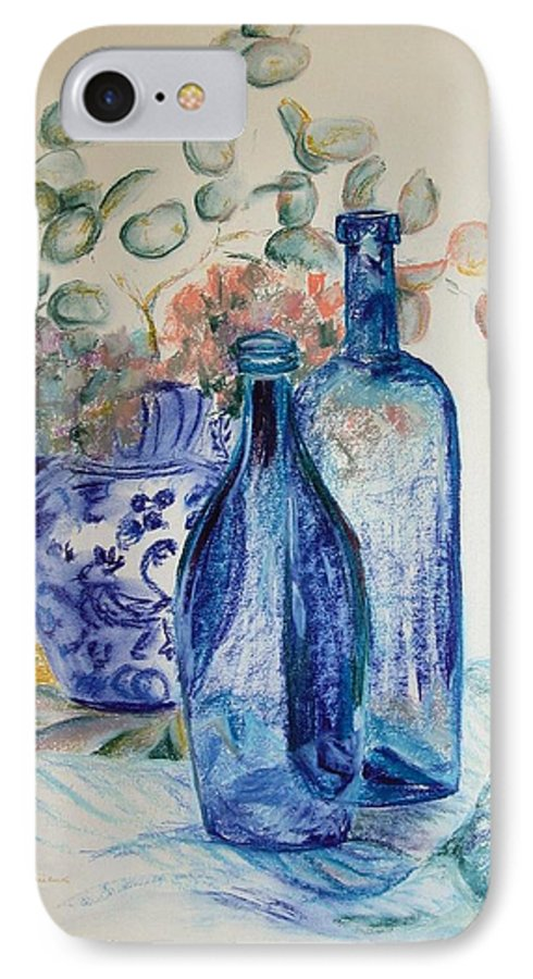 Still Life IPhone 7 Case featuring the drawing Monnaie Bleue by Muriel Dolemieux
