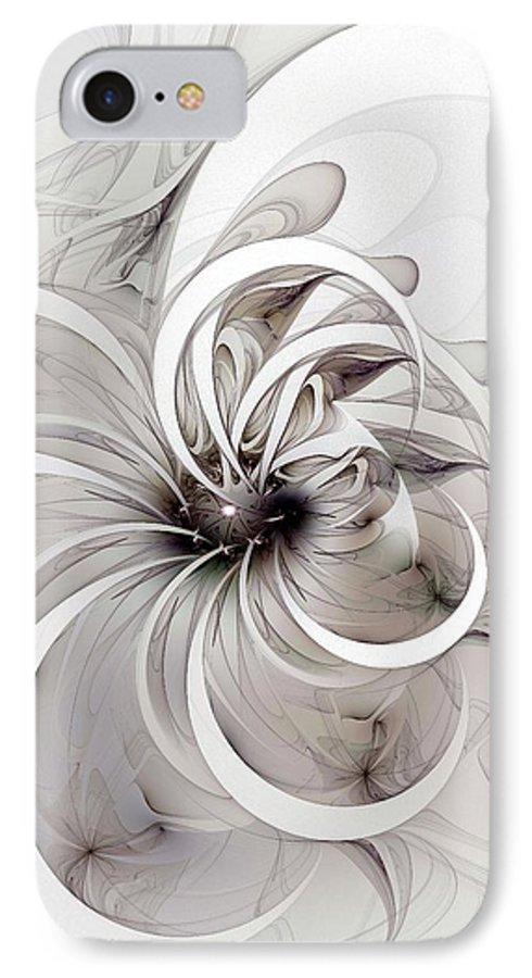 Digital Art IPhone 7 Case featuring the digital art Monochrome Flower by Amanda Moore