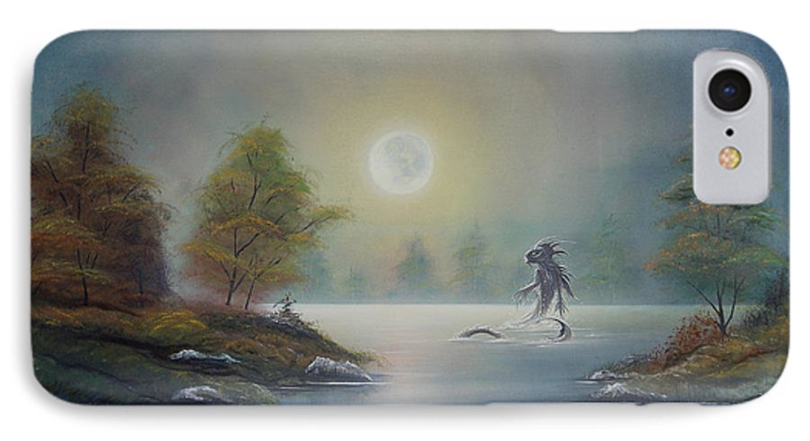 Landscape IPhone 7 Case featuring the painting Monstruo Ness by Angel Ortiz