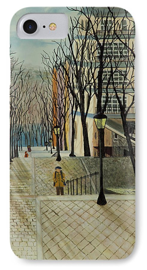 Paris IPhone 7 Case featuring the painting Montmartre Steps In Paris by Susan Kubes