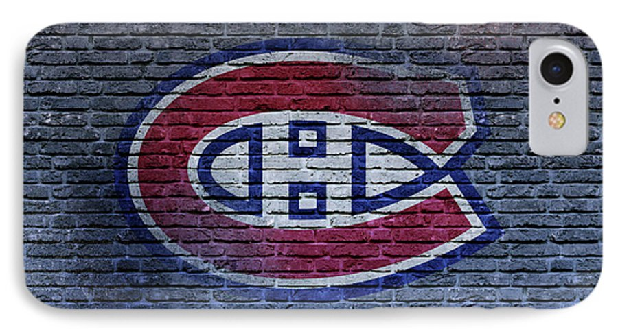 Montreal Canadiens IPhone 7 Case featuring the digital art Montreal Canadiens Wall by Nicholas Legault