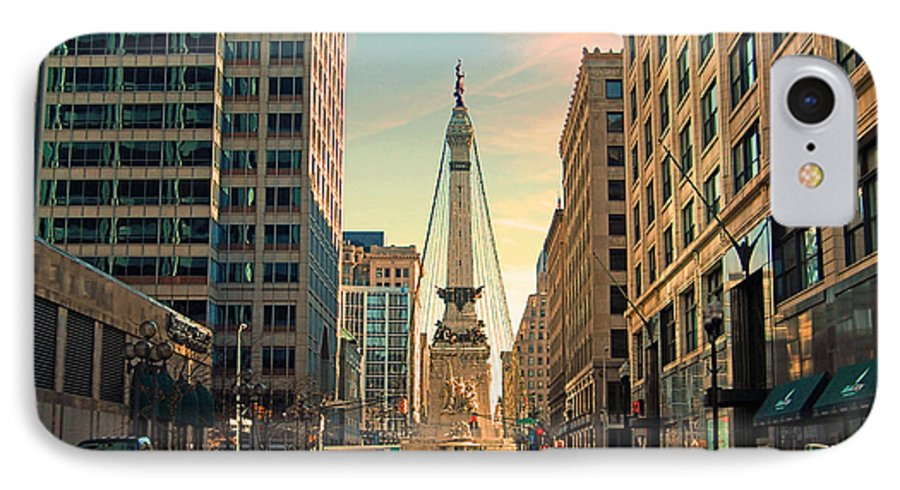 Monument IPhone 7 Case featuring the photograph Monument Circle - Indianapolis by Mark Orr