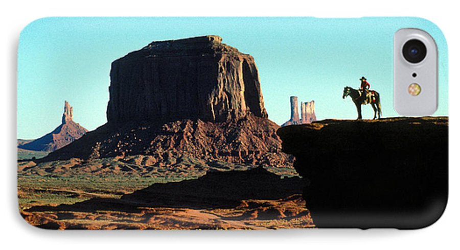 Man IPhone 7 Case featuring the photograph Monument Valley by Carl Purcell