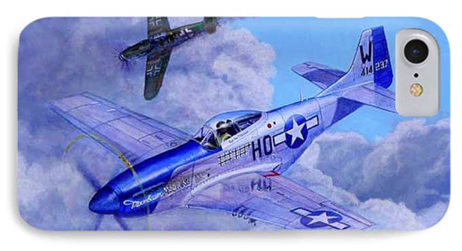Capt Bill Wisner Shoots Down Two Bf-109s On November 2nd 1944 IPhone 7 Case featuring the painting Moonbeam Mcswine by Scott Robertson
