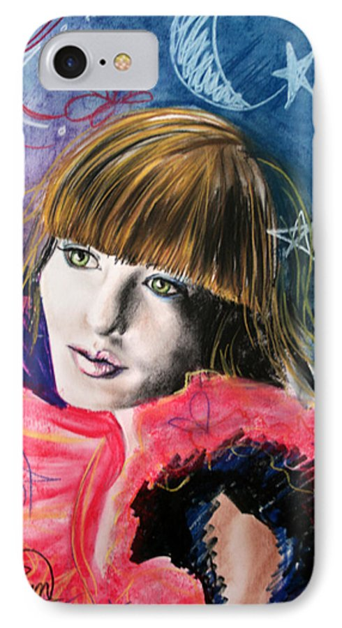 Portrait IPhone 7 Case featuring the drawing Moonlight Glam by Maryn Crawford