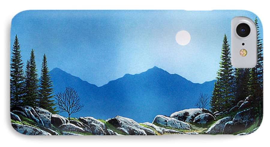 Landscape IPhone 7 Case featuring the painting Moonlight Hike by Frank Wilson