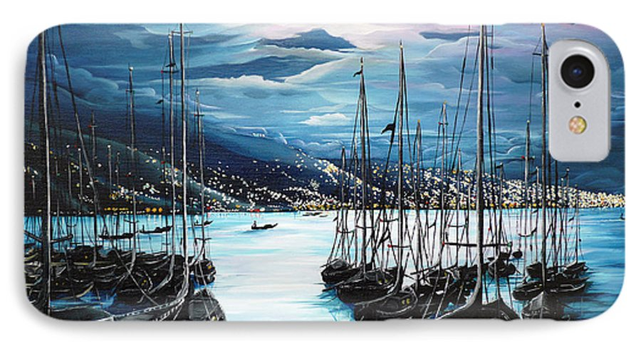 Ocean Painting  Caribbean Seascape Painting Moonlight Painting Yachts Painting Marina Moonlight Port Of Spain Trinidad And Tobago Painting Greeting Card Painting IPhone 7 Case featuring the painting Moonlight Over Port Of Spain by Karin Dawn Kelshall- Best