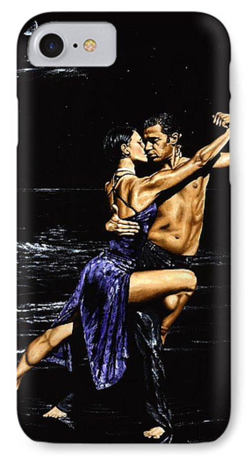 Moonlight IPhone 7 Case featuring the painting Moonlight Tango by Richard Young