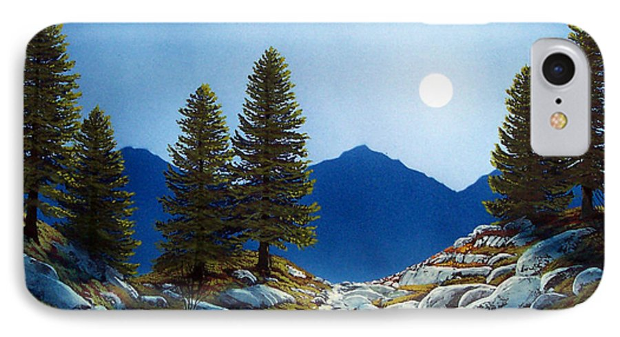 Landscape IPhone 7 Case featuring the painting Moonlit Trail by Frank Wilson