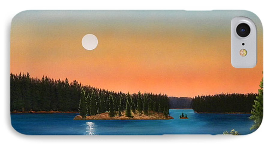 Landscape IPhone 7 Case featuring the painting Moonrise Over The Lake by Frank Wilson