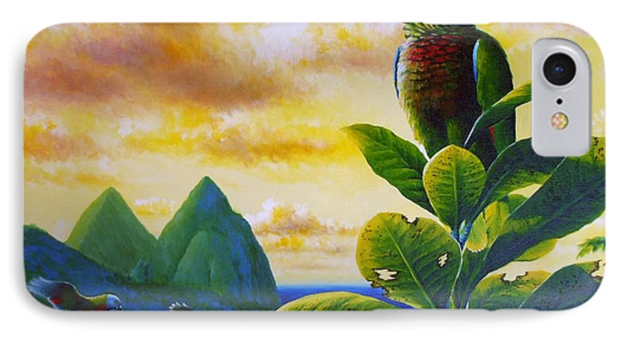 Chris Cox IPhone 7 Case featuring the painting Morning Glory - St. Lucia Parrots by Christopher Cox