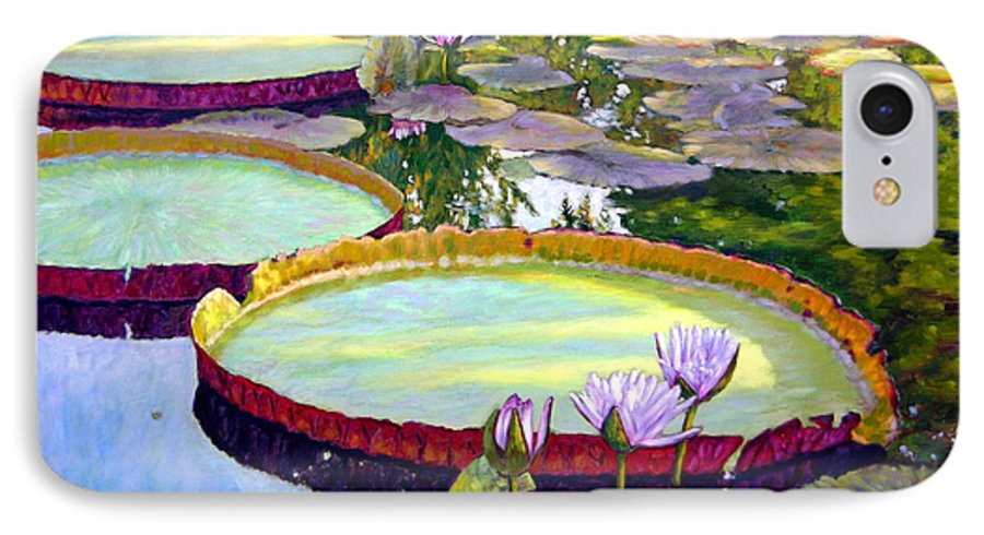Garden Pond IPhone 7 Case featuring the painting Morning Highlights by John Lautermilch
