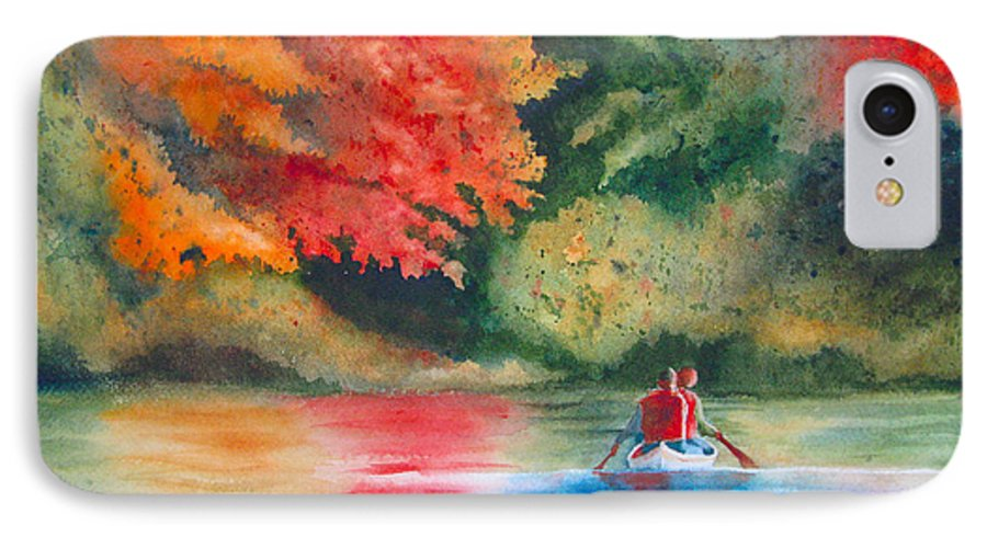 Lake IPhone 7 Case featuring the painting Morning On The Lake by Karen Stark